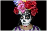 Day of the Dead face and flower headpiece