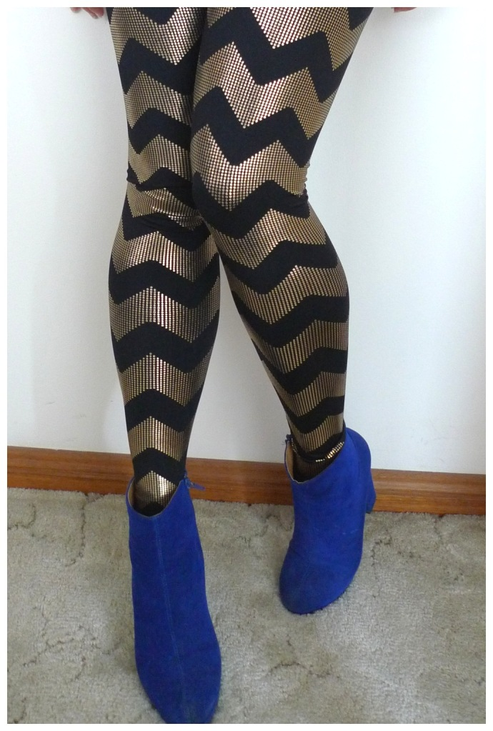 Black and gold chevron tights